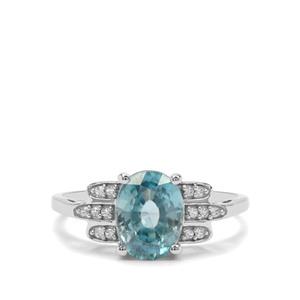 Ratanakiri Blue & White Zircon 9K White Gold Ring ATGW 2.93cts