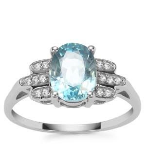 Ratanakiri Blue Zircon Ring with White Zircon in 9K White Gold 2.93cts