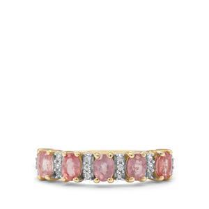 Padparadscha Sapphire & White Zircon 9K Gold Ring ATGW 1.25cts