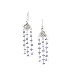 Tanzanite Bead Earrings in Sterling Silver 14.50cts