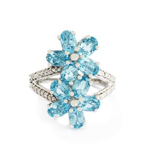 5.20ct Swiss Blue Topaz Sterling Silver Ring