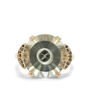 Maelstrom Cut Prasiolite & Green Diamond 9K Gold Ring ATGW 10.30cts