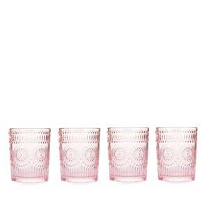 Embossed Glass Tumbler Set of 4 - Multiple Colours