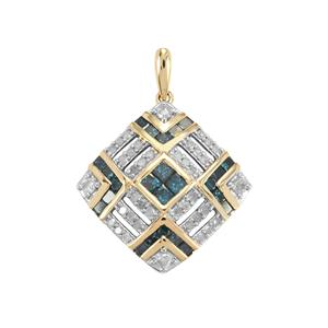 1.50ct Blue & White Diamond 10K Gold Tomas Rae Pendant