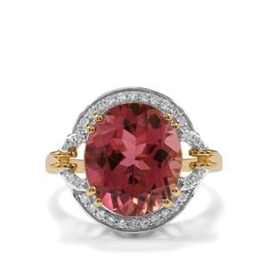 Congo Rubellite Ring with Diamond in 18K Gold 6.22cts