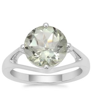Prasiolite Ring in Sterling Silver 3.24cts