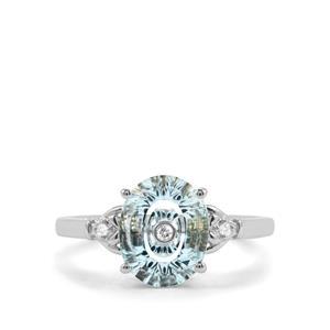 Lehrer TorusRing Sky Blue Topaz Ring with Diamond in 10K White Gold 2.62cts