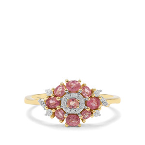 Padparadscha Sapphire & White Zircon 9K Gold Ring ATGW 0.89cts