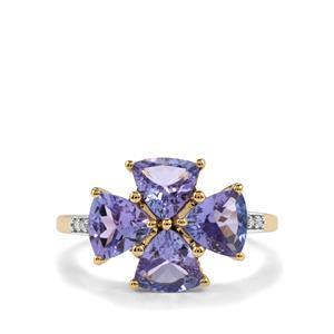 AA Tanzanite & Diamond 10K Gold Ring ATGW 2.91cts