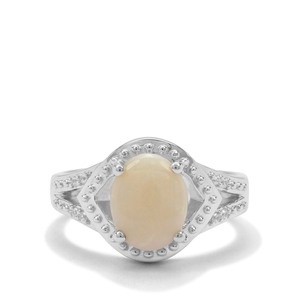Coober Pedy Opal & White Zircon Sterling Silver Ring ATGW 1.50cts