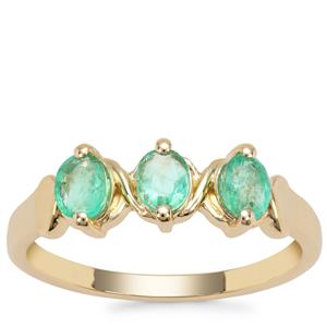 Colombian Emerald Ring in 9K Gold 0.74ct