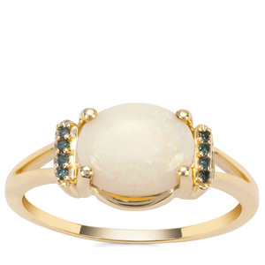 Coober Pedy Opal Ring with Green Diamond in 9K Gold 1.56cts