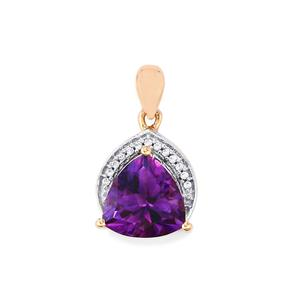 Moroccan Amethyst Pendant with White Zircon in 10k Rose Gold 3.11cts