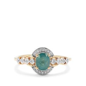 Grandidierite Ring with Diamond in 18K Gold 0.82ct