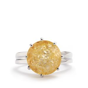 Yellow crackled Quartz Ring in Sterling Silver 6.26cts