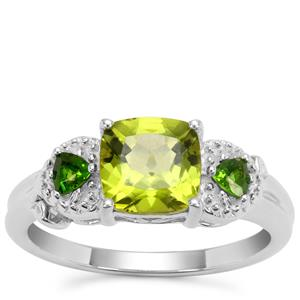 Red Dragon Peridot Ring with Chrome Diopside in Sterling Silver 1.93cts