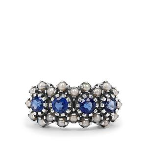 Nilamani Ring with Akoya Cultured Pearl in Sterling Silver (2mm)