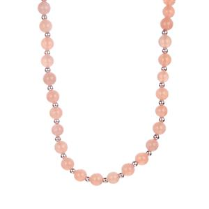 Peach Moonstone Necklace with Magnetic Lock in Sterling Silver 113.83cts
