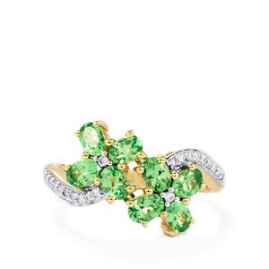 Merelani Mint Garnet & Diamond 14K Gold Tomas Rae Ring ATGW 1.62cts