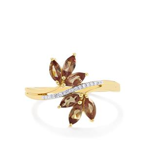 Bekily Colour Change Garnet Ring with Diamond in 9K Gold 1.05cts
