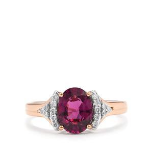 Comeria Garnet & Diamond 18K Rose Gold Tomas Rae Ring MTGW 1.87cts