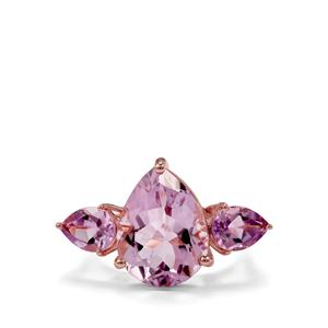 Rose De France Amethyst Ring  in Rose Gold Plated Sterling Silver 9.35cts