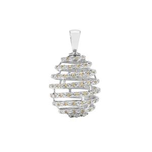 Yellow Sapphire Moscow Egg Pendant in Sterling Silver 1.42cts