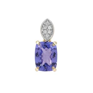 AA Tanzanite Pendant with White Zircon in 9K Gold 1.65cts