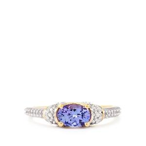 AA Tanzanite Ring with White Zircon in 10k Gold 0.93ct