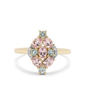 Aquaiba™ Beryl, Cherry Blossom™ Morganite & Diamond 9K Gold Ring ATGW 1.08cts