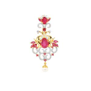 Montepuez Ruby, Kaori Cultured Pearl Pendant with Diamond in Gold Plated Sterling Silver (F)