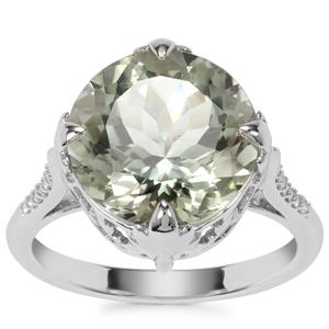 Prasiolite Ring with White Zircon in Sterling Silver 6.60cts