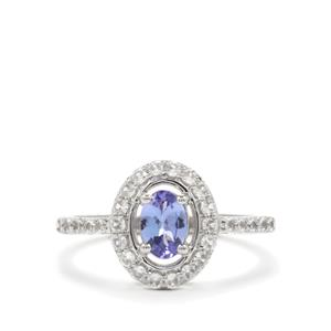 AA Tanzanite & White Zircon Platinum Plated Sterling Silver Ring ATGW 1.34cts