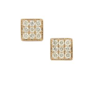 Natural Yellow Diamond Earrings in 9K Gold 0.75ct