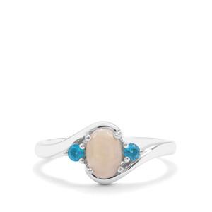 Coober Pedy Semi Black Opal & Neon Apatite Sterling Silver Ring ATGW 0.63ct