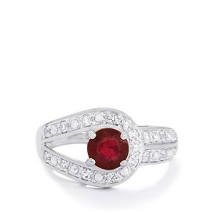 Thai Ruby & White Topaz Sterling Silver Ring ATGW 1.39cts (F)