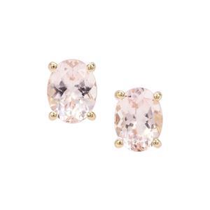 Nigerian Morganite Earrings in 9K Gold 2.25cts