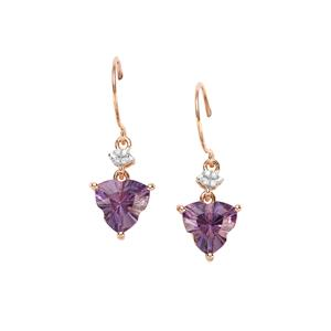 Lehrer Infinity Cut Ametista Amethyst Earrings with Diamond in 10K Rose Gold 3.12cts