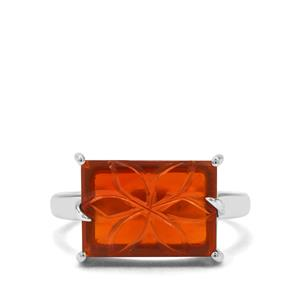 3.89ct American Fire Opal Sterling Silver Ring