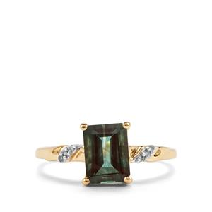Green Andesine Ring with Diamond in 10K Gold 1.33cts