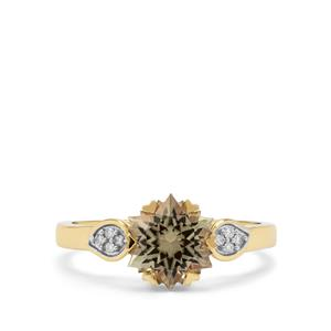 Wobito Snowflake Cut Csarite® Ring with Diamond in 18K Gold 2.05cts