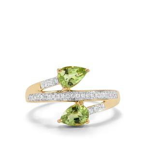 Paraiba Tourmaline Ring with Diamond in 18K Gold 1.16cts