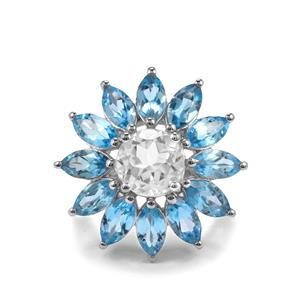 10.73ct Swiss Blue Topaz & White Topaz Sterling Silver Ring