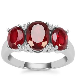 Malagasy Ruby Ring with White Zircon in Sterling Silver 5.19cts (F)