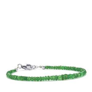 Tsavorite Garnet Graduated Bead Bracelet in Sterling Silver 17cts