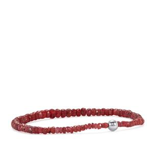 Malagasy Ruby Stretchable Graduated Bead Bracelet with Silver Ball 30cts