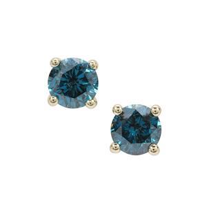Blue Diamond Earrings in 9K Gold 0.50ct