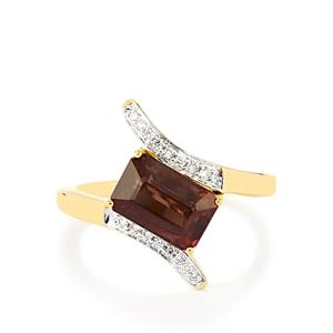 Color Change Garnet Ring with Diamond in 18k Gold 3.71cts