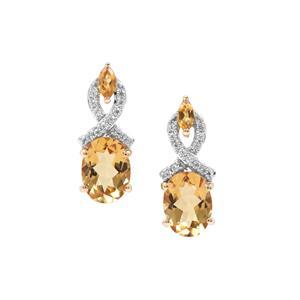 Xia Heliodor, Diamantina Citrine & White Zircon 9K Gold Earrings ATGW 2.52cts