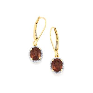 Bekily Colour Change Garnet Earrings with Diamond in 18K Gold 3.75cts